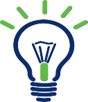 Blue and green line art illustration of a light bulb with the word How To's under it.