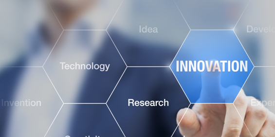 Image of a honeycomb pattern with the words Technology, Research and Innovation in it. A hand is touching Innovation and it is highlighted blue.