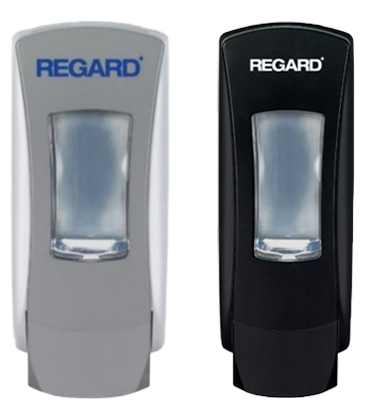 An image of two REGARD hand soap dispensers available through Bunzl Cleaning & Hygiene.