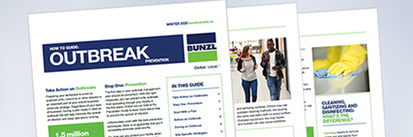 An image of Bunzl's Outbreak Prevention guide newsletter.