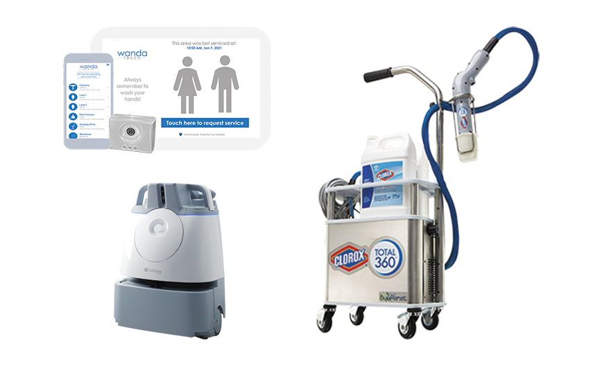 Image featuring mobile app page views of the WandaNEXT digital cleaning management system, the Clorox Total 360 disinfecting machine and the Softbank Whiz machine.