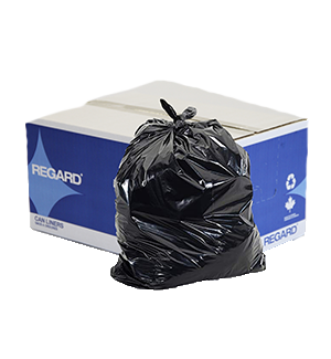 Image of the REGARD Can Liners box with a black garbage bag sitting in front of it, available through Bunzl Cleaning & Hygiene.