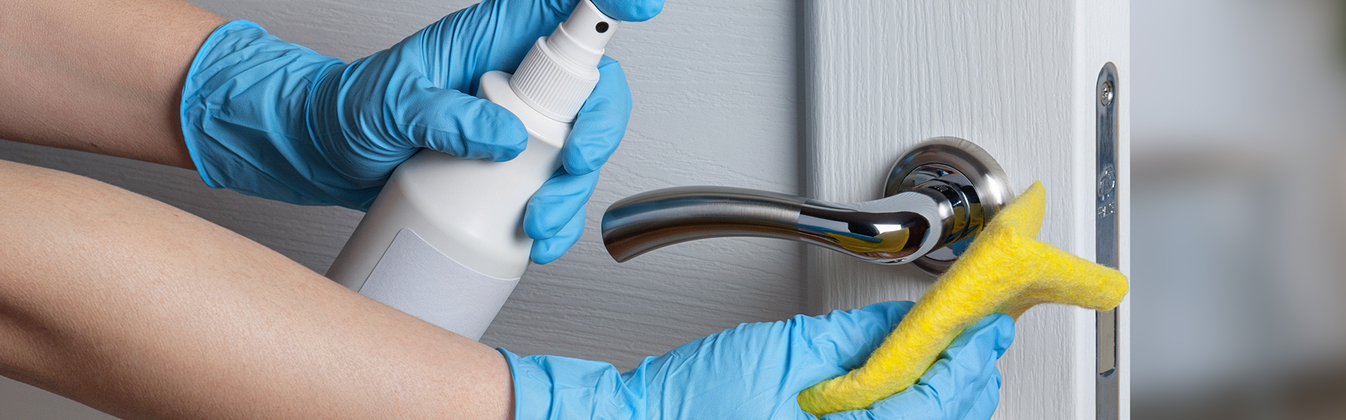 A person cleaning a door handle with a spray bottle and microfibre cloth.