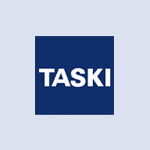 Taski company logo in blue colour on a transparent background
