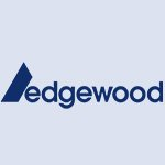 Edgewood company logo in blue colour on a transparent background