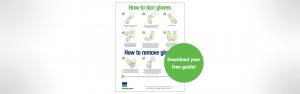 Le guide d'enfilage et de retrait des gants à côté d'un cercle vert avec le texte « Téléchargez votre guide gratuit ! »
