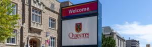 The Queens University sign.